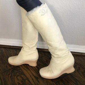 Chanel Lambskin/fur boots